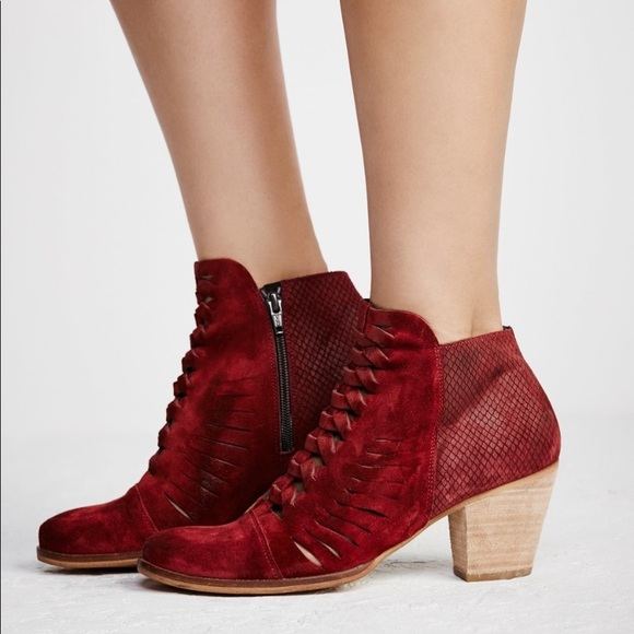 Loveland Red Suede Ankle Booties